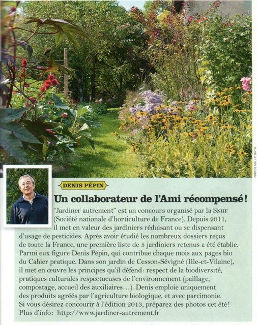 Denis Pépin, lauréat du prix Jardiner autrement, Ami des jardins de sept 2012