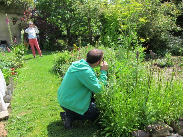 observation des auxiliaires à la loupe dans le jardin
