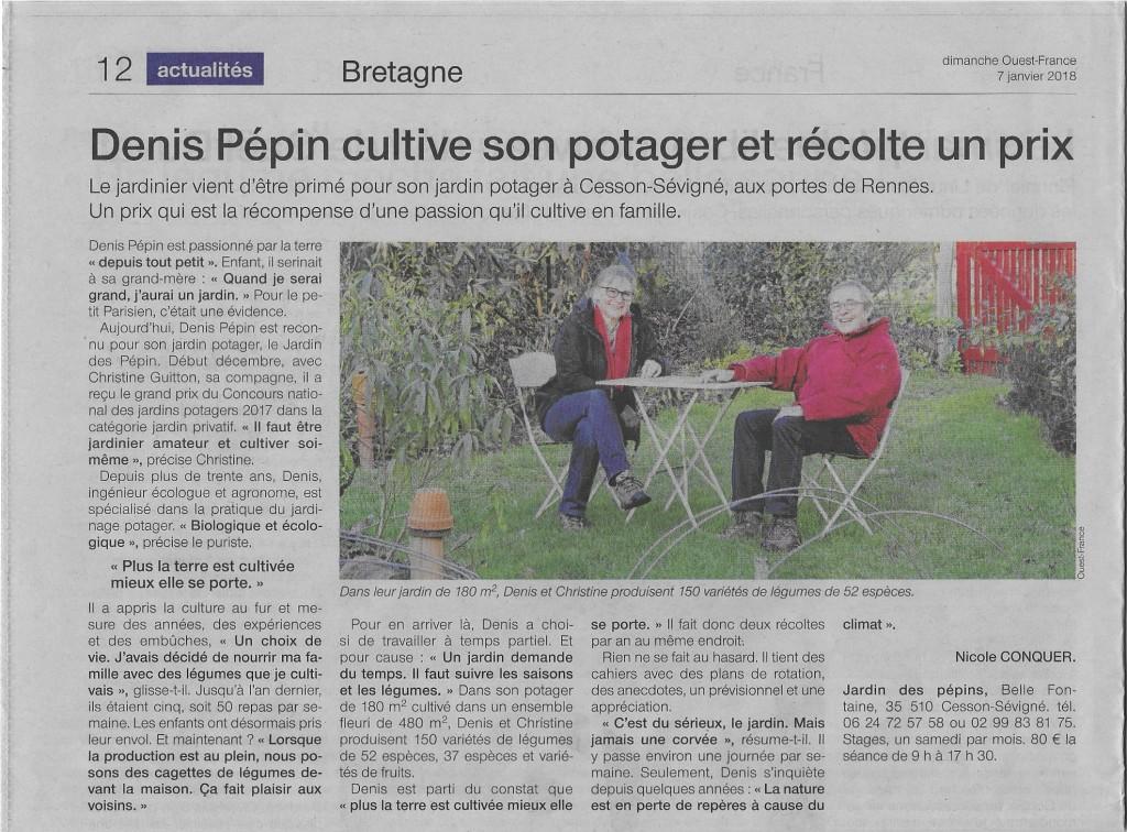 Denis Pépin cultive son potager et récolte un prix, article de Dimanche Ouest France du 07 janvier 2018